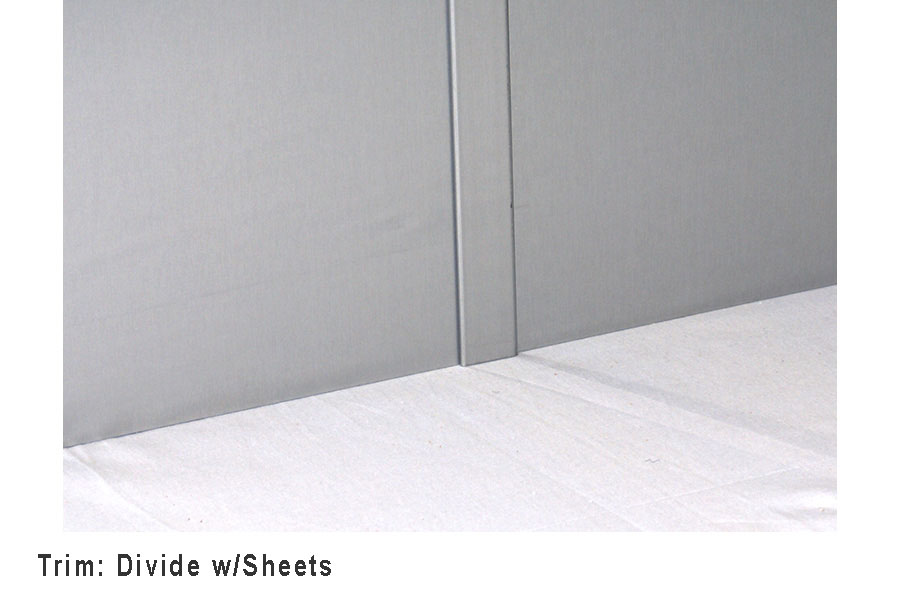 the divide trim molding is made from our 24 gauge 304 stainless steel sheet stock divide trim molding is used to join two adjacent sheets on the same wall
