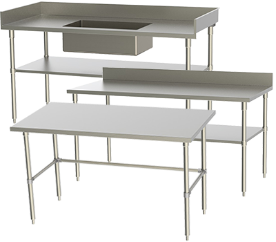 Stainless Supply Stainless Steel Tables - Stainless steel table with backsplash and sides