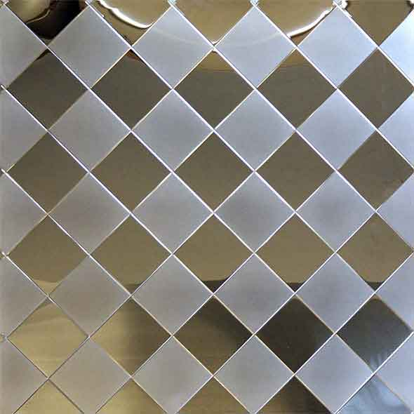 Stainless Steel Embossed Pattern - Square Grid